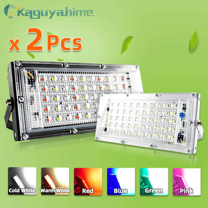 = (K) = 2 Pcs LED Flood Light 50W 100W RGB Floodlight IP65 Tahan Air Outdoor Street Tempat Dinding Reflektor Lampu taman Lampu Sorot