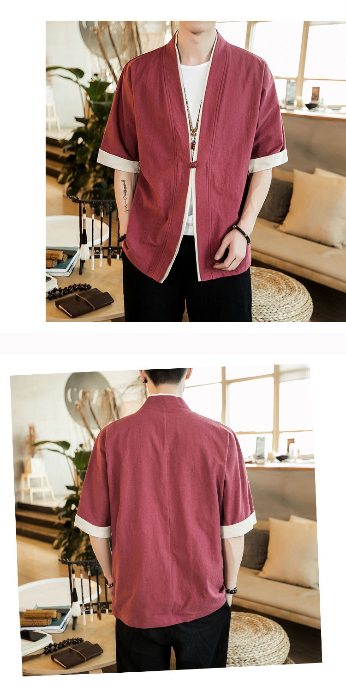 Sinicism Store Men Patchwork Shirt Streetwear Short Sleeve 19 Summer Harajuku Vintage Kimono Shirts Black Fashion Open Stitch 30