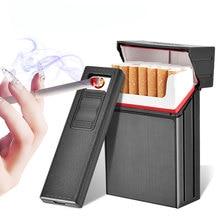 2-в-1 сигареты чехол USB Перезаряжаемые Зажигалка для курения, беспламенная, Бездымная Электронная зажигалка ветрозащитный дыма сигареты коробки