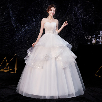 2020 New Sexy Strapless Wedding Dress Plus Size Vestido De Noiva Slim Lace Up Princess Wedding Gowns Floor-length Bride Dress