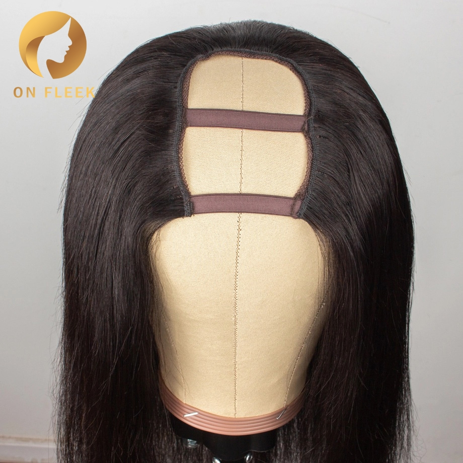 U Part Wig Straight Short Wigs Long  8inch-30inch For Black Women Pre Plucked Bleached Knots Brazilian Remy Human Hair Wigs