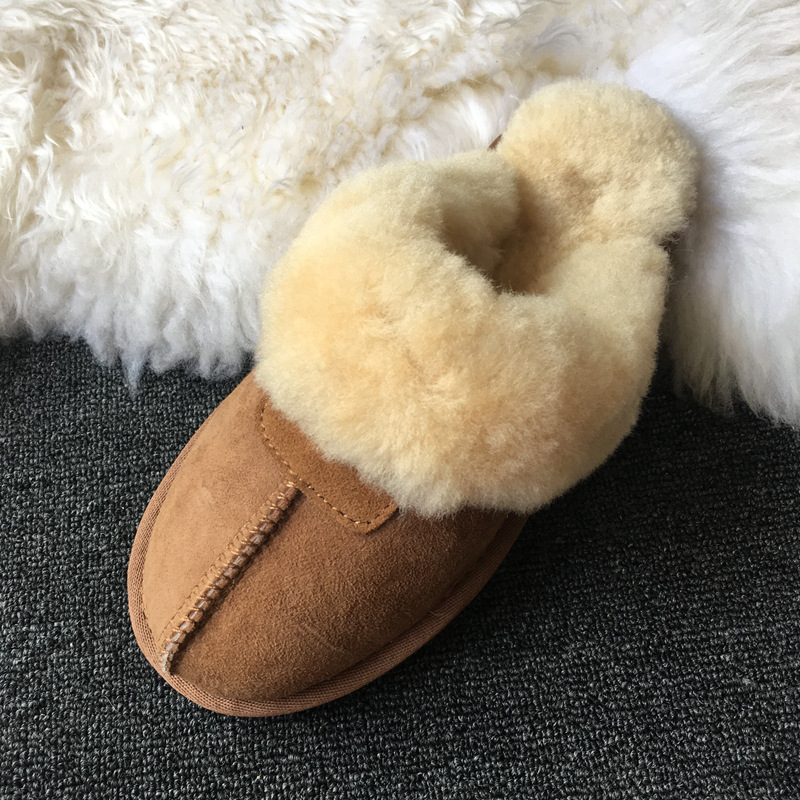 2021 Women Slipper Winter Snow Boots Non-slip Leather Real Wool Fur Warm Fashion Ladies Shoes Home 3