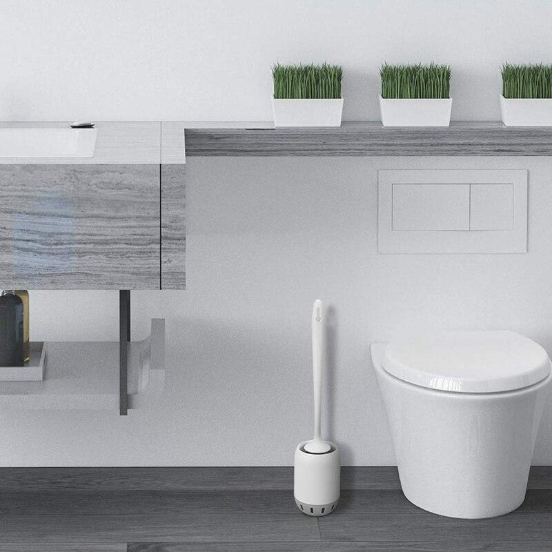 Toilet Brush And Holder Upgrade Modern Design With Strong Bristles,Bathroom Toilet Bowl Cleaner Brush Set,Toilet Cleaning Brush
