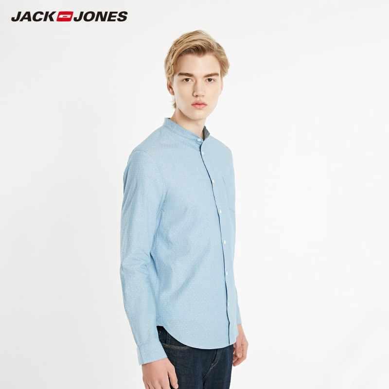 Мужская Базовая приталенная рубашка JackJones из 100% хлопка с воротником-стойкой и длинными рукавами   219105573