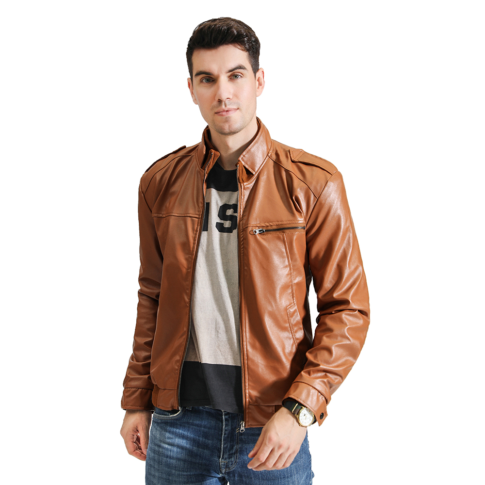 2020 Autumn New Men's Casual Fashion Stand Collar Slim Leather Jacket Slim Solid Color Leather Jacket Men