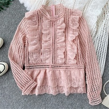 NiceMix 2019 Spring autumn New Fashion Runway Blouse Elegant Hollow Out Lace Ruffles Blusas Pink White Beige Stand Women Chic To