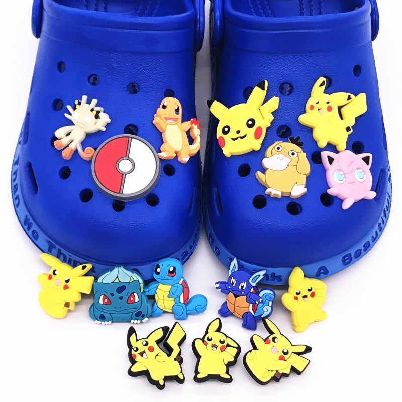 1pcs 만화 포켓몬 피카추 Charmander 악어 매력 신발 장식 액세서리 PVC 구두 매력 맞추기 Wristbands 어린이 선물