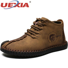 UEXIA Handmade Outdoor Shoes Winter Men Boots Leather Comfortable Lace-Up Snow B