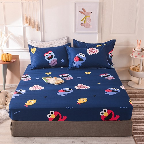 (New On Product) 1pcs 100% Cotton Printing bed mattress set with four corners and elastic band sheets(pillowcases need order) 19