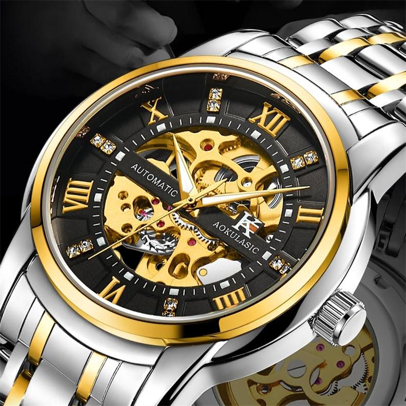 Steampunk Automatic Mechanical Watch Men Skeleton Winner Watches Bracelet Wristwatch Luxury Male Self-winding Reloj masculino