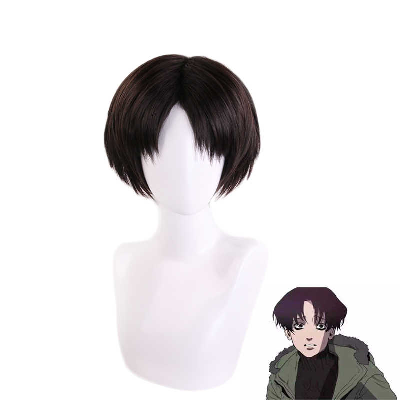 Killing Stalking Yoon Bum Yoonbum Black Brown Short Wig Cosplay Costume Levi Ackerman Heat Resistant Synthetic Hair Wigs