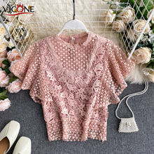 VICONE  2020 New Style Top Hollow Lace Flying Sleeves Fashion Short Shirt