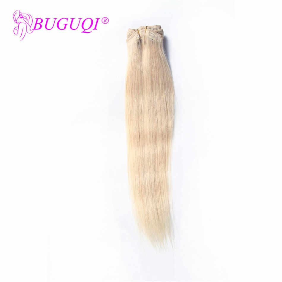 BUGUQI spinka do włosów w doczepy z ludzkich włosów Indian #24 Remy 16- 26 Cal 100g maszyna wykonana klip doczepy z ludzkich włosów