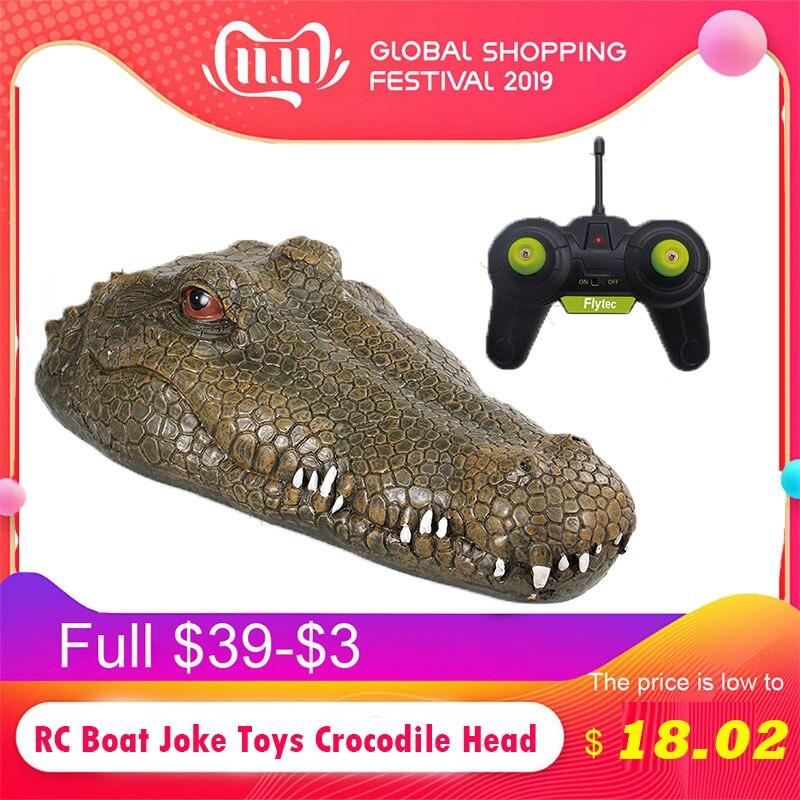 RC Boat Joke Toys Crocodile Head Alligator Decoy Pond Float Simulation Doll Garden Crocodile Head Novelty Simulation Spoof Toy