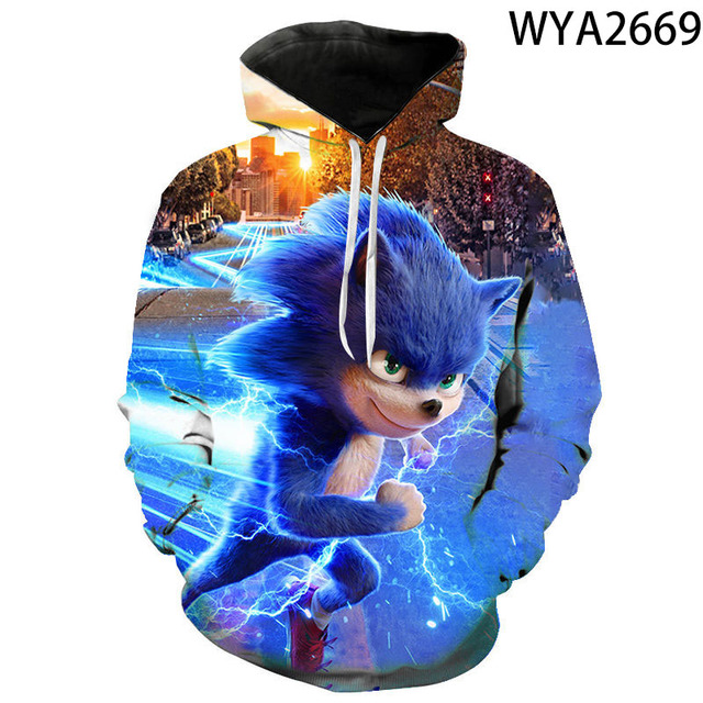 Kids Boys Adult 3D Sonic The Hedgehog Hooded Hoodies Sweatshirt Pullover Jumper