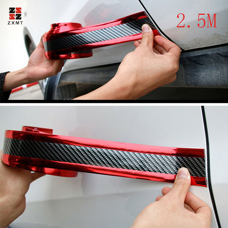 2 5M Car Stickers 5D Carbon Fiber Rubber Styling Door Sill Protector Goods For KIA Toyota BMW Audi Mazda Ford Hyundai Accessorie in Styling Mouldings from Automobiles Motorcycles