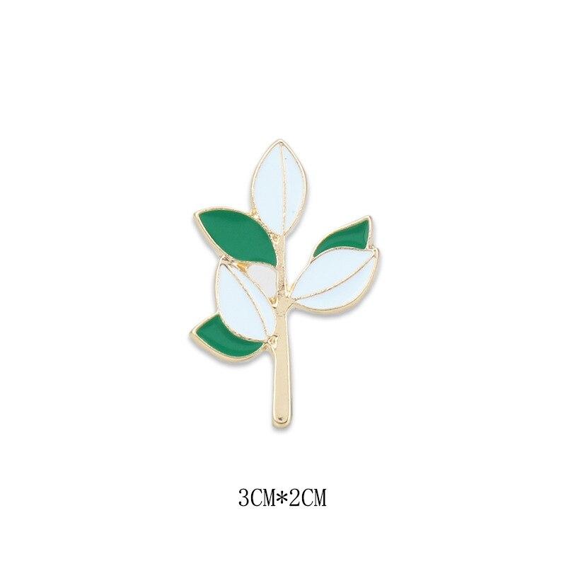 Nieuwe Product Persoonlijkheid Niche Serie Mori Vrouwen Literatuur En Kunst Kleine Verse Groene Blad Tak Broche Pin Accessoires Gift 2