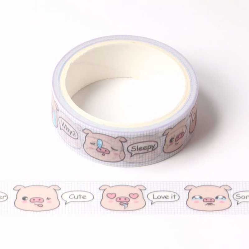 10pcs/lot Decorative Cute Pig Printing Washi Tapes Pink Paper DIY Scrapbooking Planner Adhesive Masking Tapes Kawaii Stationery