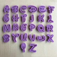 26 حرف إنجليزي على شكل قالب كعك قاطع كعك فندان أدوات تزيين كعك قوالب تزيين كعك 020173