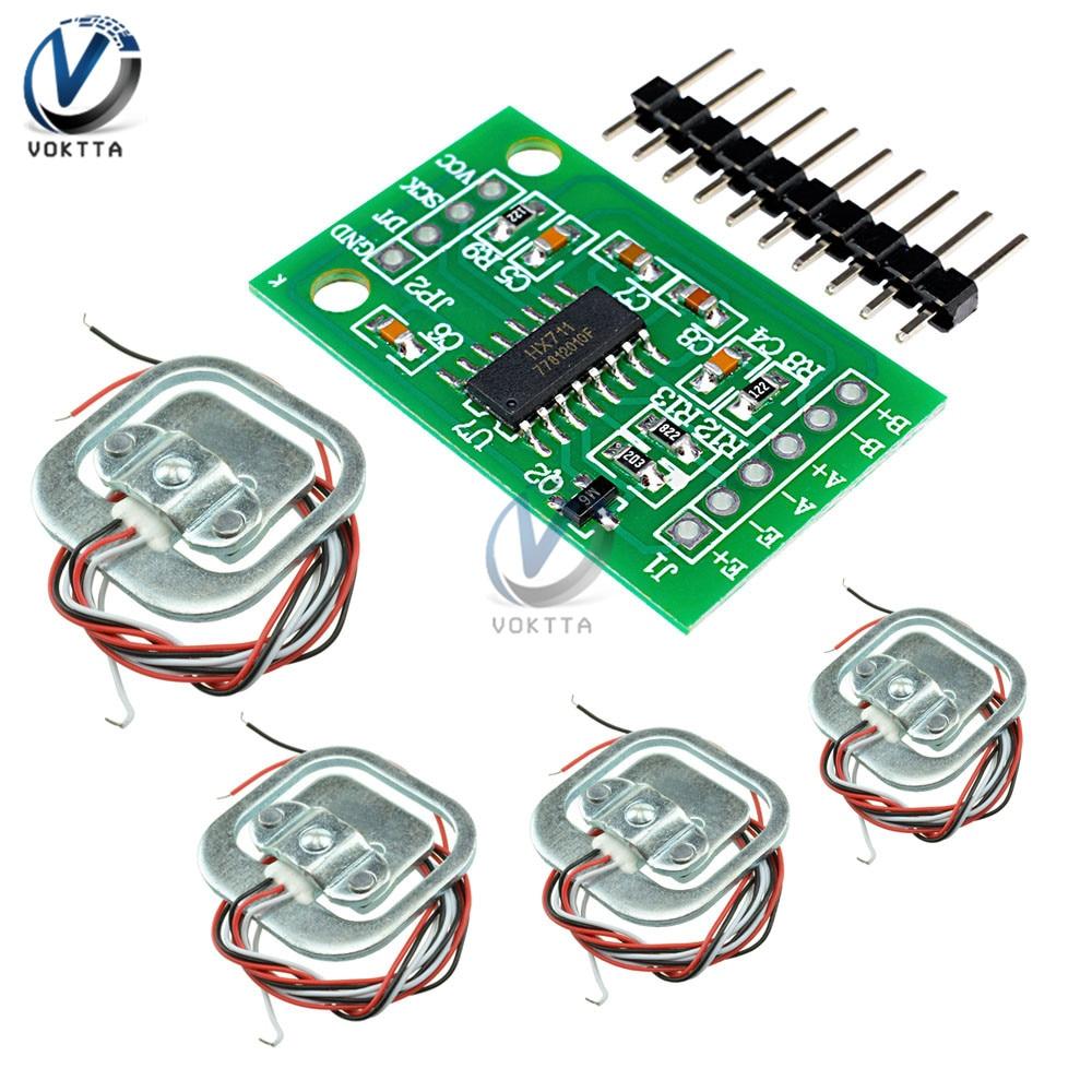 HX711 Load Cell Module + 4Pcs 50kg Weight Sensors Human Load Cell Weight Sensors Pressure Sensors Measurement Tools