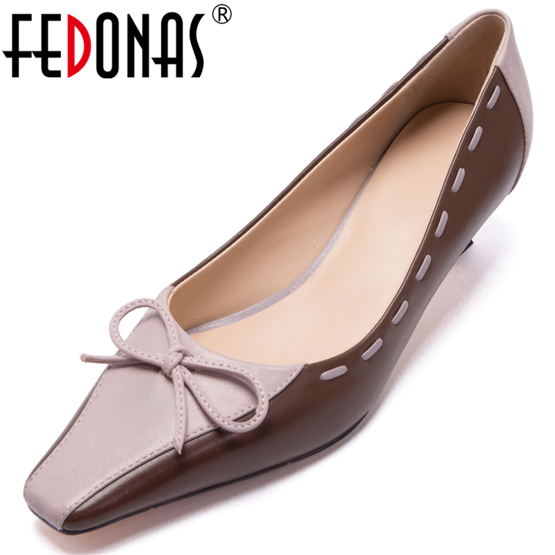 FEDONAS Euro Style Elegant Women Sheepskin Wedding Casual Mixed Colors Butterfly Knot Square Toe Low Heel Shallow Shoes Woman