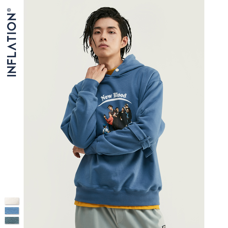 INFLATION Men Oversized Hoodie 2020 FW Vintage Funny Character Print Hoodie In Blue Men Pullover Hoodie For Autumn Winter 9616W