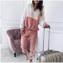 Two Piece Set Patchwork Outfit Women 2020 Autumn Casual Hoodies Top and Long Pants Set Ladies Joggers Set Loose Tracksuit patchwork tracksuit women 2019 two piece set casual side striped sexy tops short pants loose outfit set sportwear c124
