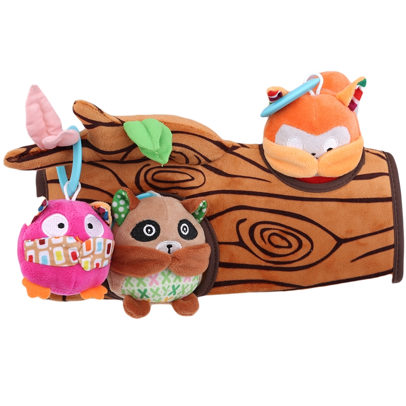 Juguete de peluche para bebé, muñeco Peekaboo, búho, bebé, mapache y ardilla pequeña, sonajero