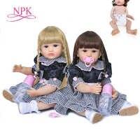 NPK-muñeco de bebé de cuerpo completo de silicona, muñeco de bebé reborn, juguete de baño impermeable, dos colores de pelo, 55CM, original, recién llegado