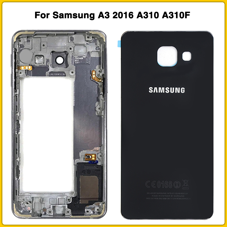 New A310 Middle Frame For Samsung A3 2016 A310 A310F Mid Plate Bezel Housing Chassis + Battery Back Cover Door