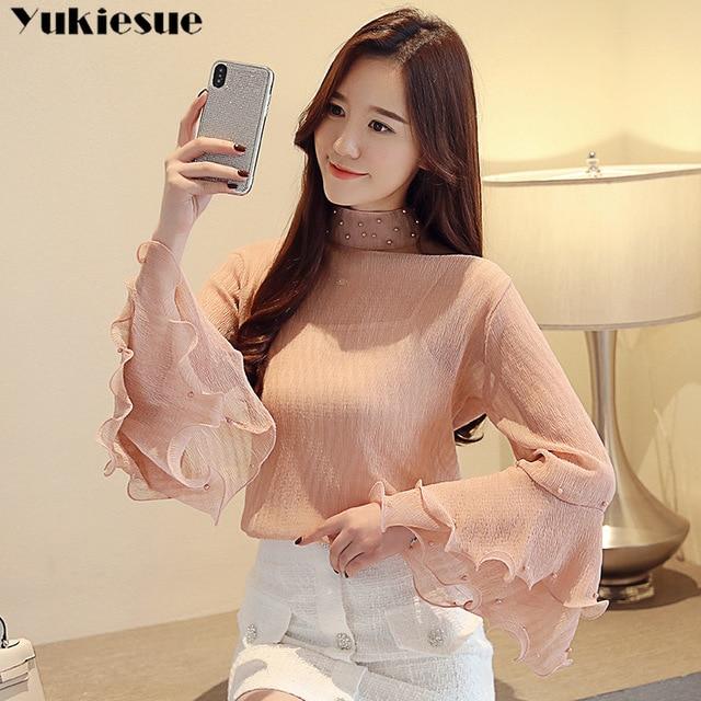 fashion womens blouses beading pink chiffon blouse shirt long sleeve women shirts womens tops and blouses blusas femininas 4