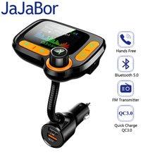 JaJaBor-Transmisor de FM manos libre, receptor de audio de carga rápida QC3.0 compatible con tarjeta TF/reproducción de disco U Disk