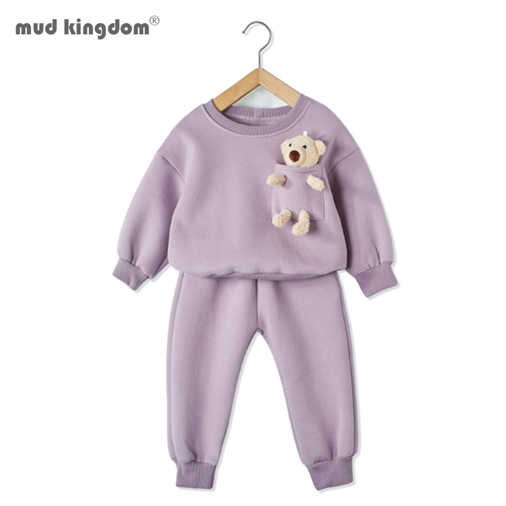 Mudkingdom Winter Autumn Girl Clothes Set  Striped Outfits with Bear Plush Toy Casual Kid Clothes 1
