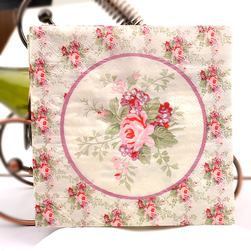 Factory Sale Floral Printed Napkin Wedding Kleenex Restaurant Hotel Paper Placemat Wine Glass Flower Arrangement Paper