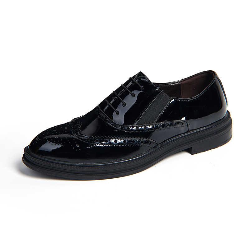 Preto Sapatos Oxford Para Homens 2019 Outono Novo Negócio Sapatos Formal Sapatos Slip-on Sapatos de Escritório Dos Homens Desinger zapatos Hombre