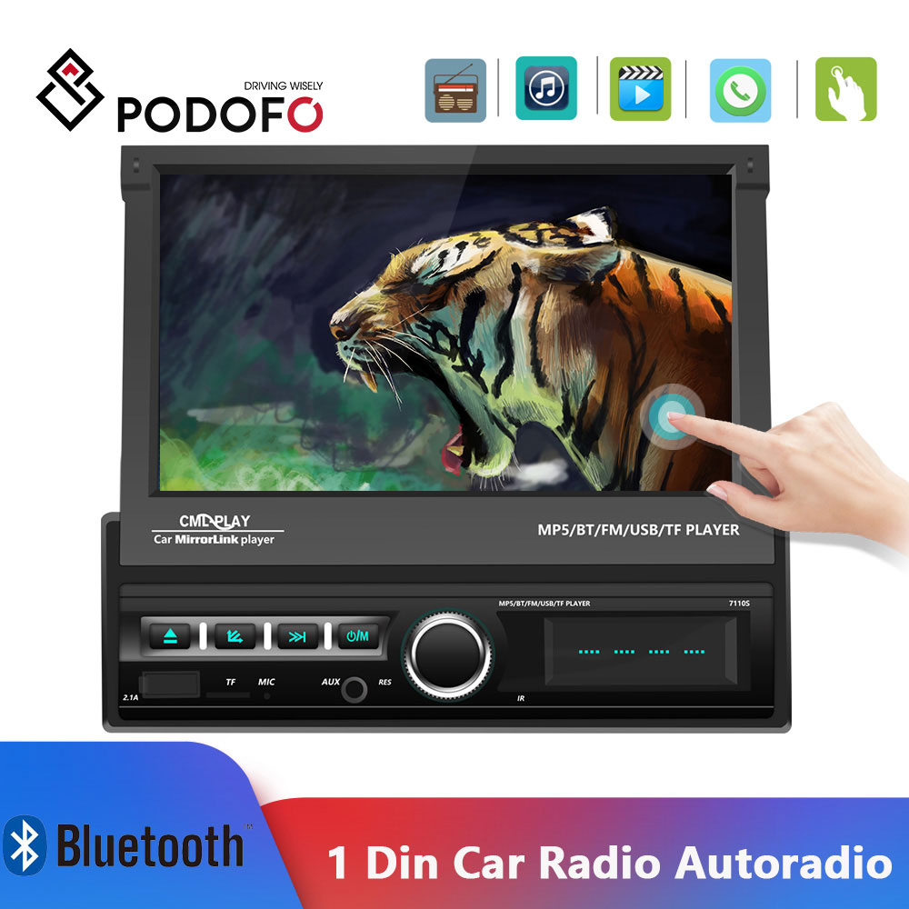 Podofo 1din Car Radio 7'' Autoradio Touch Screen Car Multimedia Player Mirror Link Auto MP5 Bluetooth FM Radio Cassette Player image
