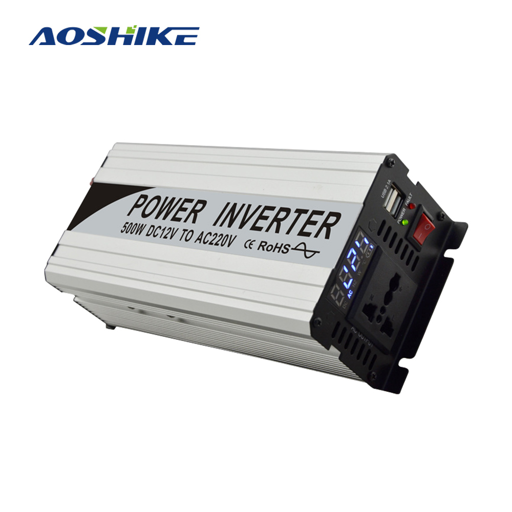 AOSHIKE <font><b>1000W</b></font> <font><b>Inverter</b></font> 12 V 24 V to 220 V 110 V Voltage Transformer Converter Pure Sine Wave <font><b>Power</b></font> <font><b>Inverter</b></font> with USB 2.1A Port image