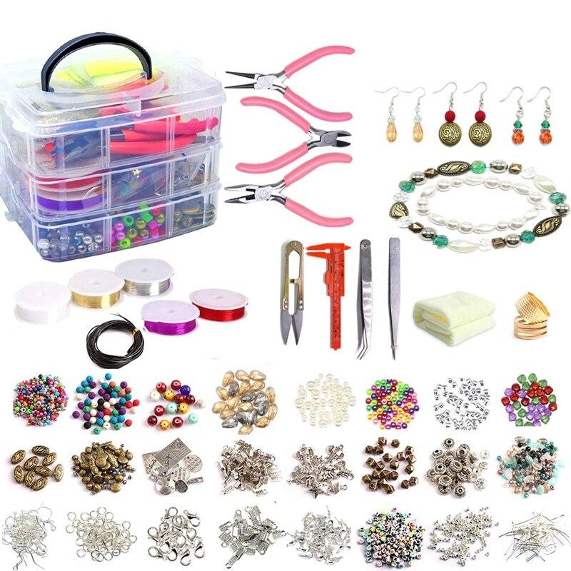 Kit de fournitures de fabrication de bijoux perles de bijoux, pinces à bijoux, fil de perles pour Bracelet de collier, fabrication et réparation de boucles d'oreilles, DI