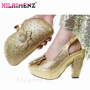 Image 4 - Latest Italian Spring Sandals Shoes And Bag To Match Set For Party Fashion Rhinestone Pumps Shoes And Bag Set in Wine