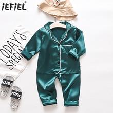 Pajamas-Set Sleepwear Girls Baby Solid Outfits Pants Blouse Tops Satin Ice-Silk Boys