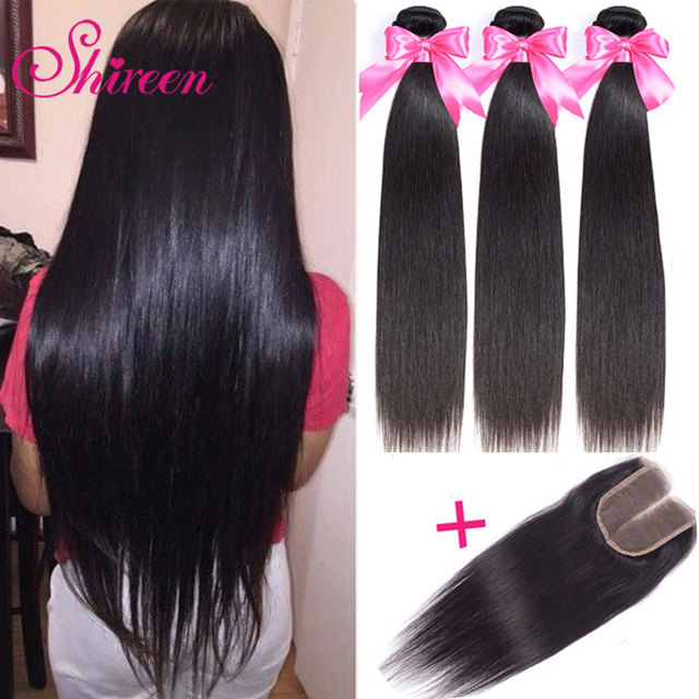 Shireen Brazilian Straight Hair Bundles With Closure 3 Bundles With Closure 4pcs Hair Extensions Weave Bundles With Closure Remy