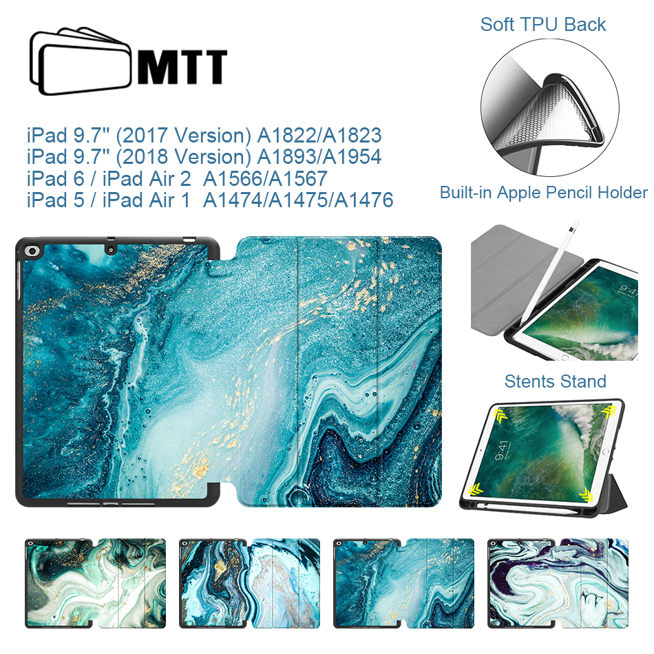 MTT Marble Case For iPad 9.7 inch 2017 2018 Soft TPU Back+PU Leather Flip Stand Smart Cover for iPad Air 1 2 Tablet Case Fundas