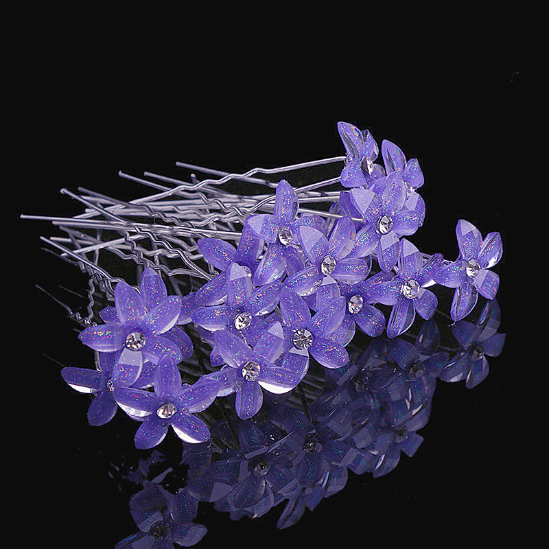 10pcs/lot Flower Crystal Rhinestone UShaped Hairpin HairClip Women Wedding Bridal Headdress Jewelry Hair Accessories
