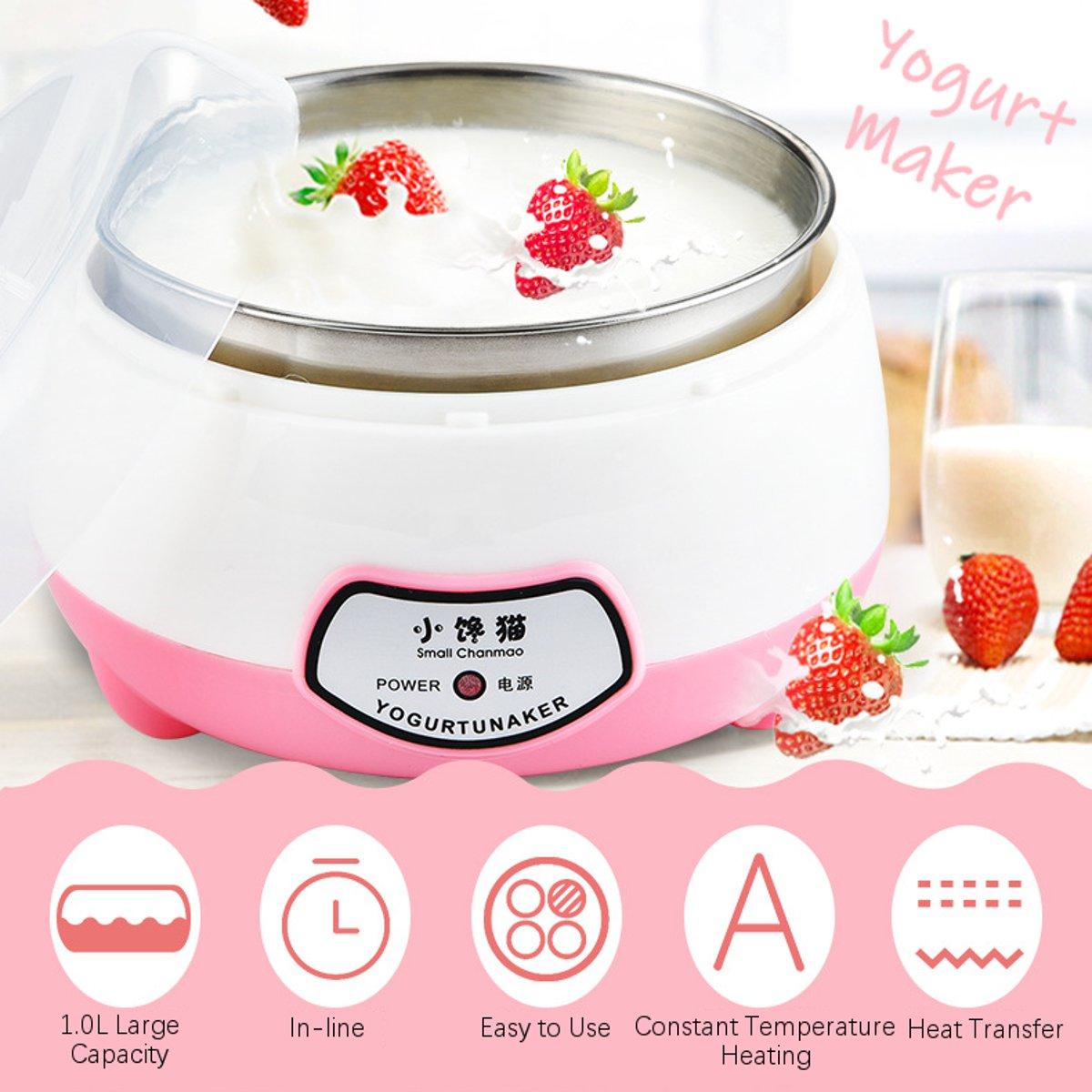 1.0L Yogurt Machine Maker Household Fully Automatic Stainless Steel Small Yogurt Machine Kitchen Tools Stainless Steel Inner