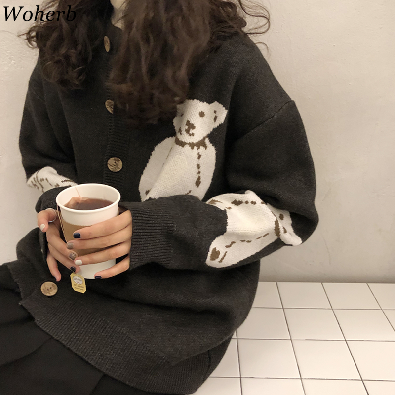 Woherb 2020 Japanese Kawaii Cardigan Women Cute Sweater Coat Cartoon Bear Print Korean Knitwear Girls Sweet Loose Cardigans