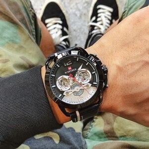 Image 2 - NAVIFORCE Creative Mens Watch Fashion Sports Watches Waterproof Leather Analog Quartz Wrist Watch Men Clock Relogio Masculino