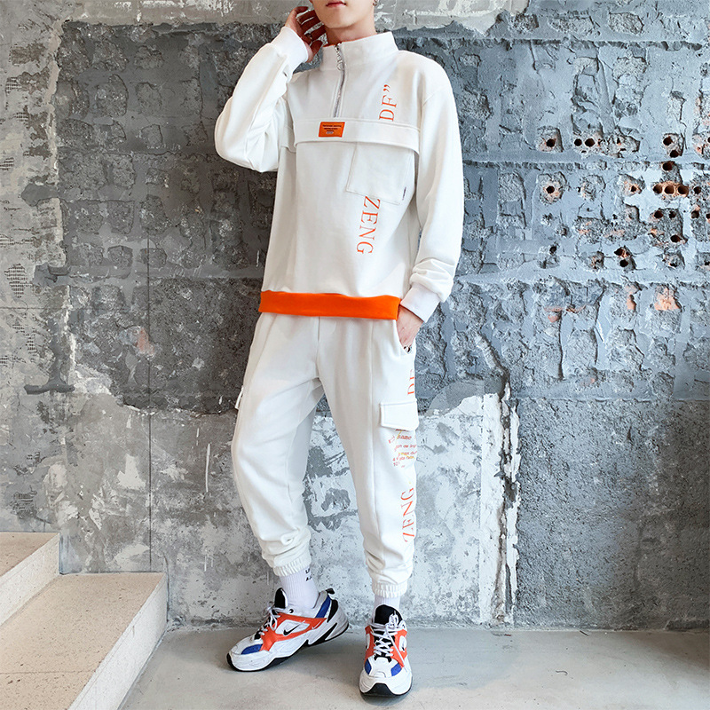 Fashion Men'S Wear Printed Letter Zipper Contrast Color Multi-pockets Casual Men's Loose-Fit Hoodie Clothing Two-Piece Set