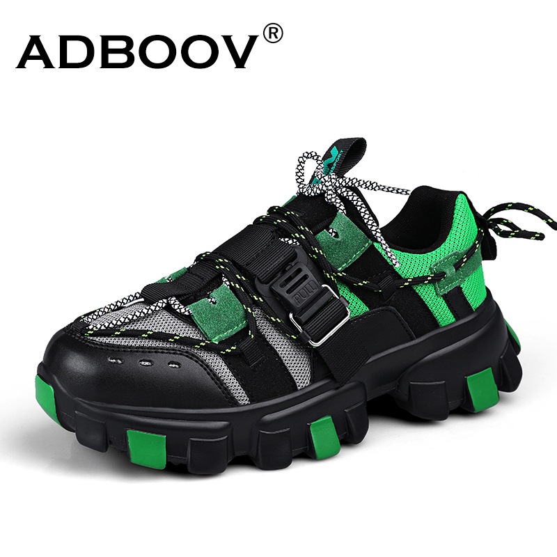 ADBOOV Thick Sole Fashion  Sneakers Men Tenis Masculino Buckle Breathable Men Shoes