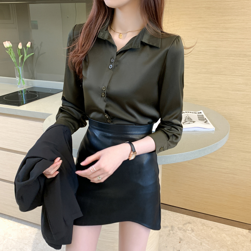 Silk Shirts Women Satin Shirt for Women Long Sleeve White Shirt Office Lady Satin Silk Blouse Tops Plus Size Woman Basic Blouses