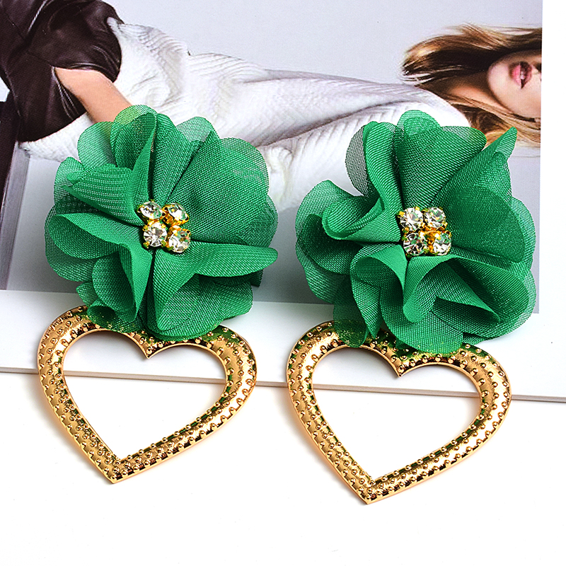New Statement Handmade Flower Earrings High-quality Crystal Heart Drop Earrings Fashion Jewelry Accessories For Women Wholesale